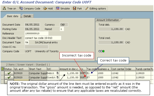 Tax Code Correction Example of Correcting Transaction