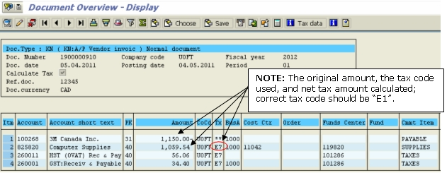 Tax Code Correction Example of Original Transaction