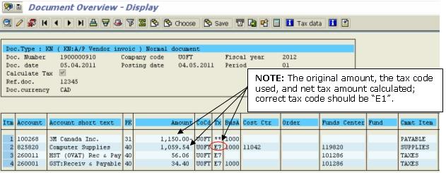 Tax Code Correction Example of Original Transaction