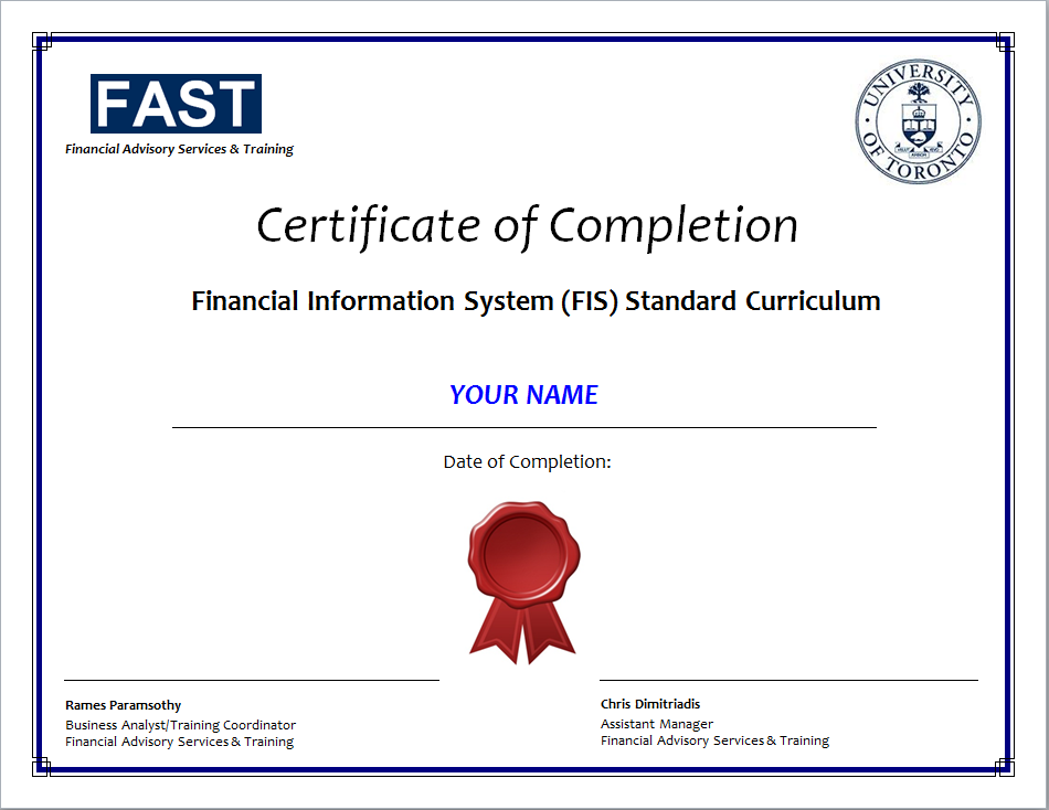 Fis Standard Curriculum Certificate Requirements Financial Services